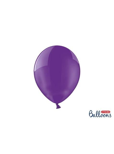 100 palloncini extra resistenti lilla effetto vetro (27 cm)