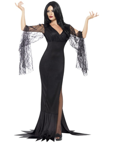 disfraz de morticia aterradora para mujer