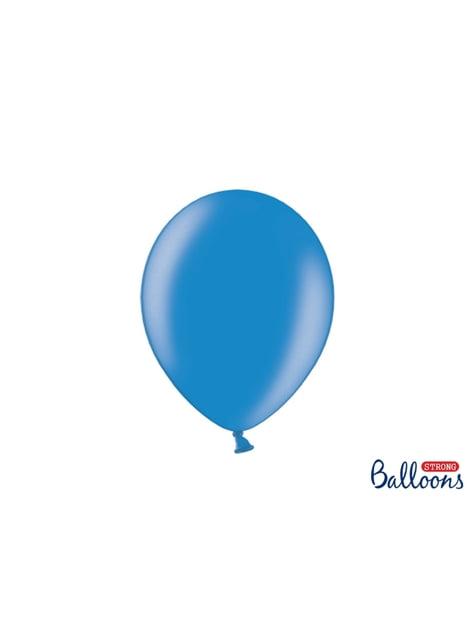 10 sterke ballonnen in Metallic Medium Blauw, 27 cm