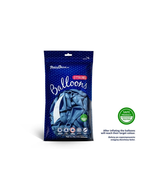 10 ballons extra résistants 27 cm bleu semi clair métallisé