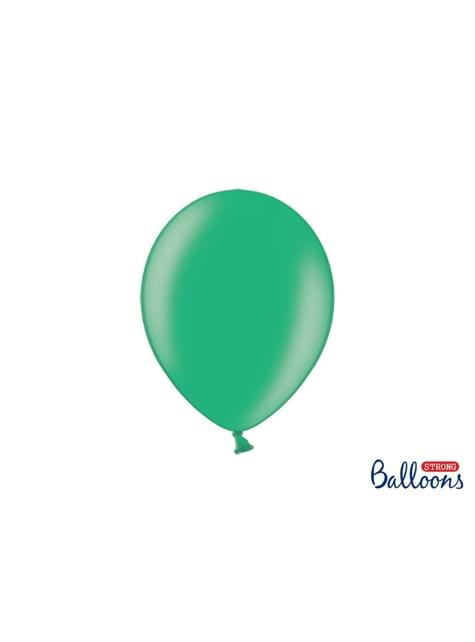 100 globos extra resistentes verde metalizado (27 cm)