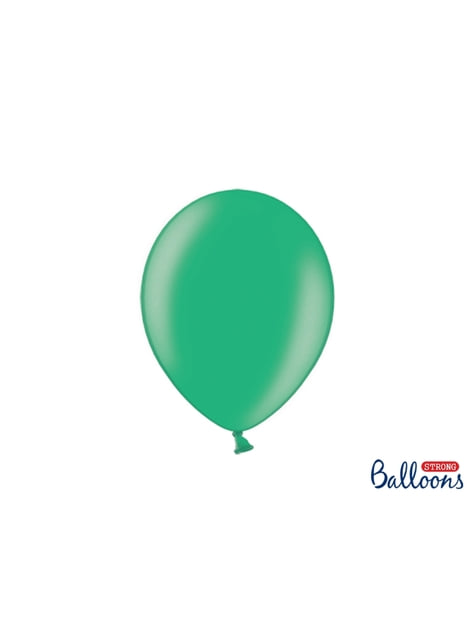 10 extra sterke ballonnen in metallic groen (27 cm)