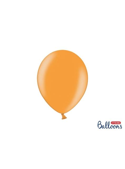 10 sterke ballonnen in Metallic Licht Oranje, 27 cm