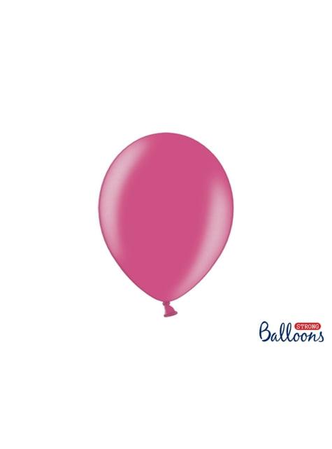 10 ballons extra résistants fuchsia métallisé (27 cm)