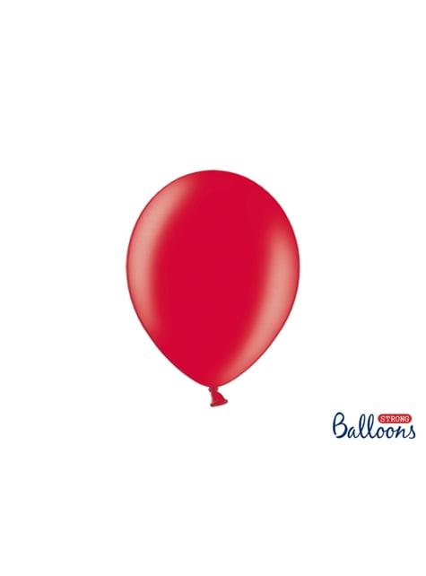 100 globos extra resistentes rojo metalizado (27 cm)