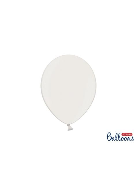 10 sterke ballonnen in Metallic Wit, 27 cm