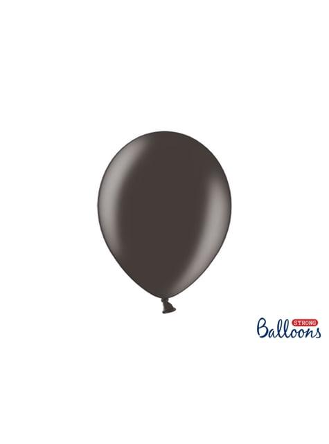 10 palloncini extra resistenti nero metallizzato (27 cm)