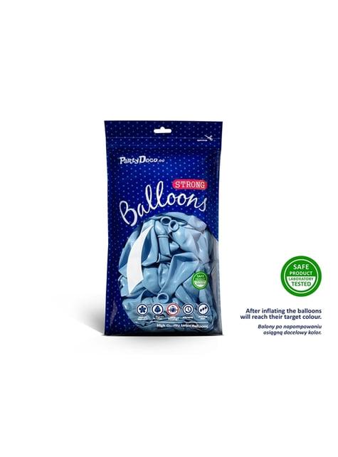 100 globos extra resistentes azul pastel metalizado (27 cm)
