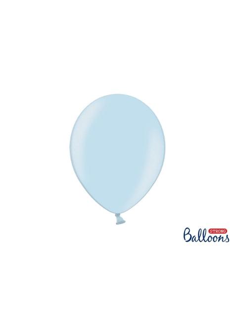 10 balões extra resistentes azul pastel metalizado (27 cm)