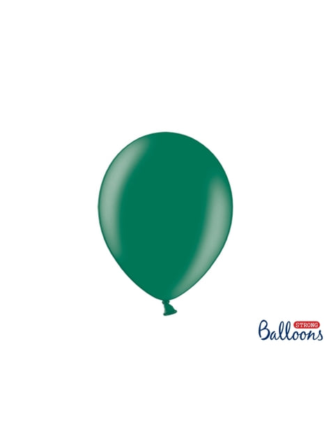 100 extra strong balloons in metallic bottle green (27 cm)