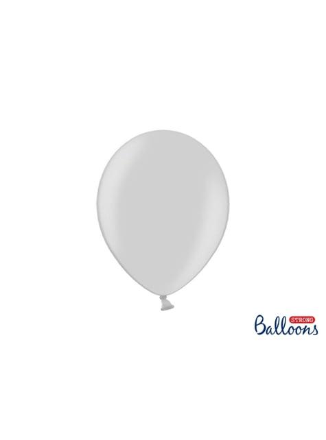 100 ekstra stærke balloner i skinnende grå (27 cm)