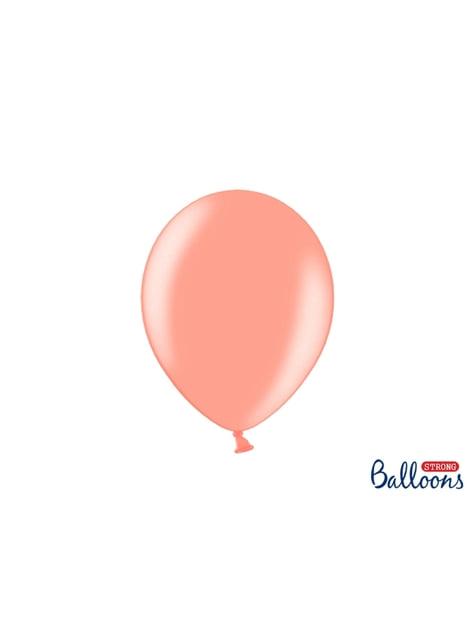 100 globos extra resistentes rosa dorado (27 cm)