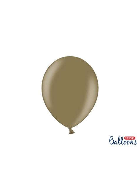 100 sterke ballonnen in pastel bruin, 27 cm