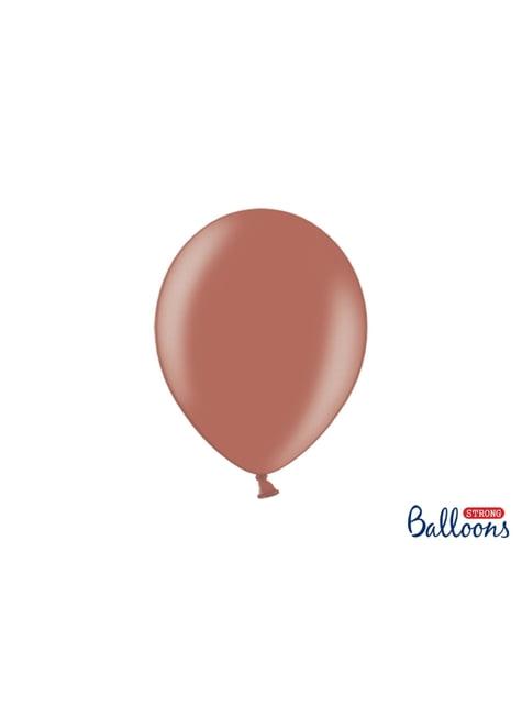 100 palloncini extra resistenti marrone terra metallizzato (27 cm)