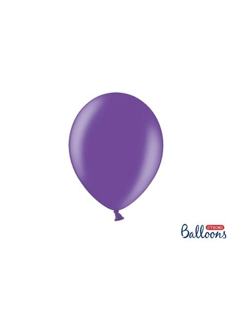 10 extra sterke ballonnen in metallic lichtpaars (27 cm)