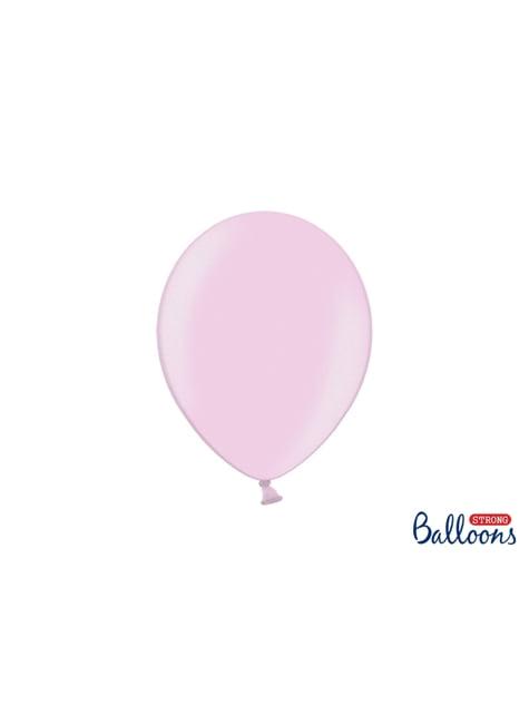 100 extra sterke ballonnen in metallic pastel roze (27 cm)