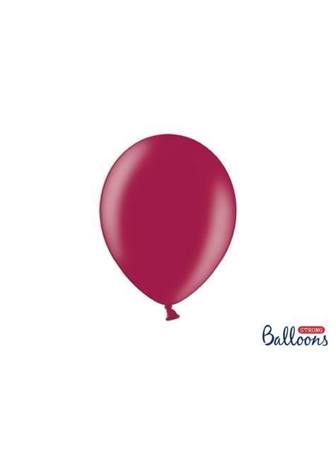 100 sterke ballonnen in metallic bordeaux, 27 cm