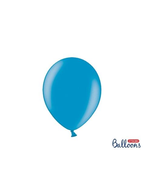 100 extra silných balonků metalicky světle tyrkysových (27 cm)