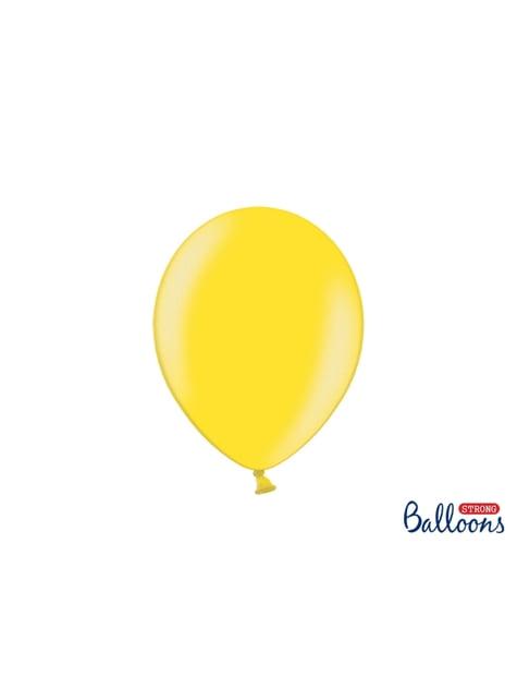 100 sterke ballonnen in metallic licht geel, 27 cm