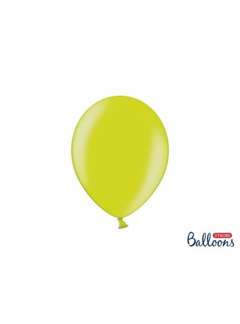 100 sterke ballonnen in metallic limoen groen, 27 cm