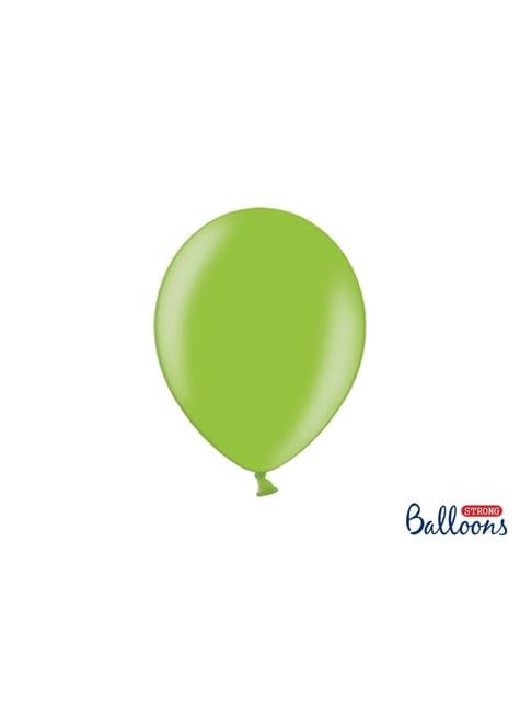 100 globos extra resistentes verde brillante metalizado (27 cm)