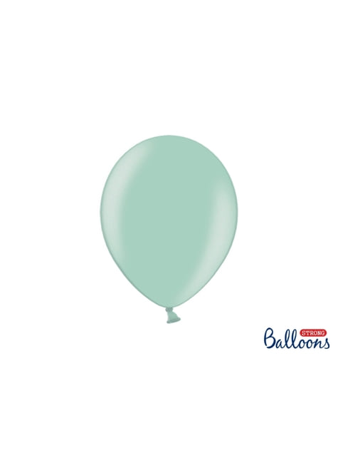 100 sterke ballonnen in metallic munt groen, 27 cm