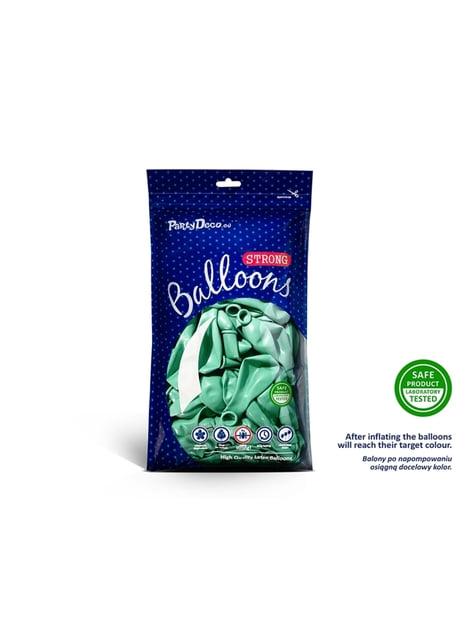 100 globos extra resistentes verde menta metalizado (27 cm)