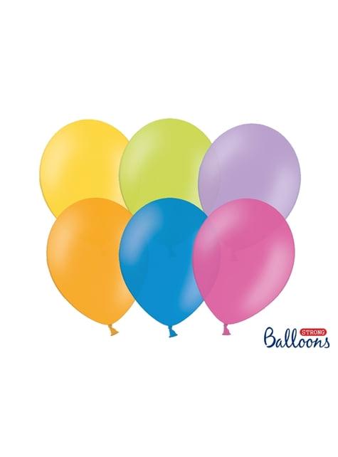 100 extra sterke balonnen in geassorteerde metallic pastel kleuren (27 cm)