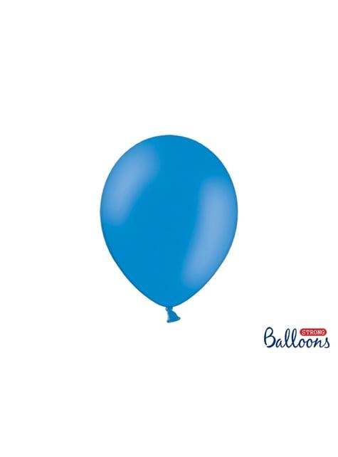 100 sterke ballonnen in metallic pastel blauw, 27 cm