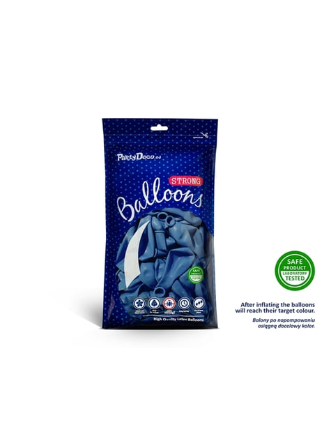 10 Strong Balloons in Metallic Pastel Blue, 27 cm