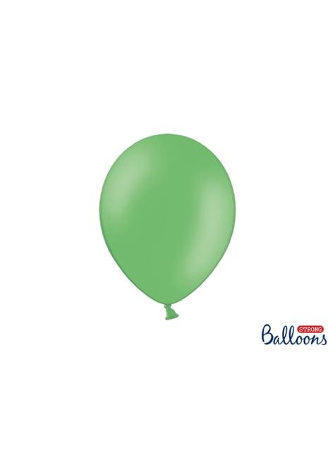 10 błyszczące pastelowo zielone balony extra mocne (27cm)
