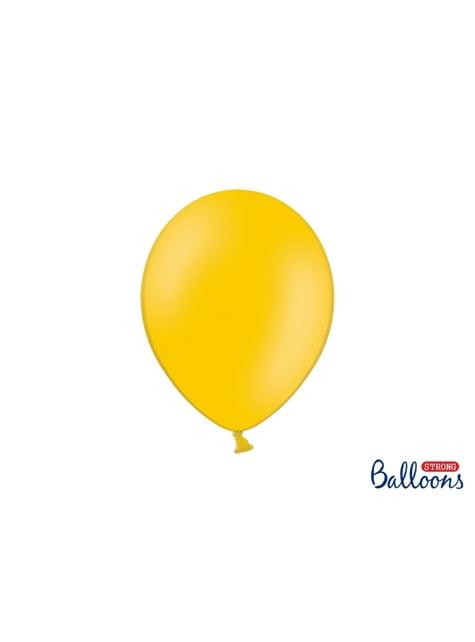 100 balões extra resistentes laranja brilhante metalizado (27cm)