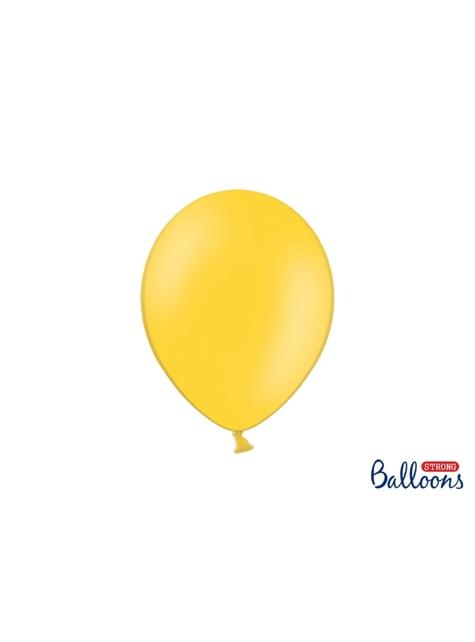 100 globos extra resistentes amarillo metalizado (27 cm)
