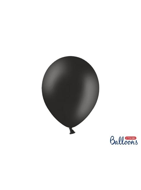 10 globos extra resistentes negro pastel metalizado (27 cm)