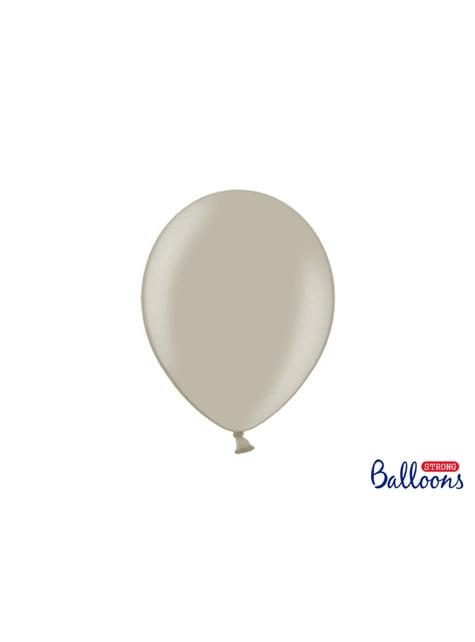 100 extra sterke ballonnen in metallic grijs (27 cm)