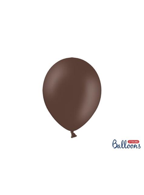 10 extra sterke ballonnen in metallic donkerbruin (27 cm)