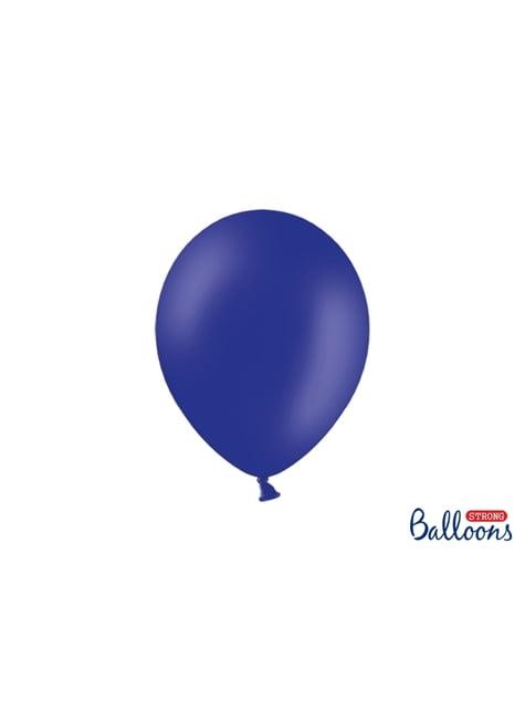 100 balões extra resistentes azul elétrico metalizado (27cm)
