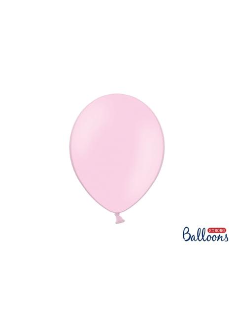 10 globos extra resistentes rosa bebé metalizado (27 cm)