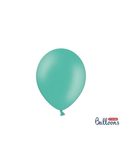 100 extra sterke ballonnen in metallic pastel aquamarijn blauw (27 cm)