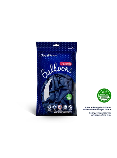 10 palloncini extra resistenti blu scuro metallizzato (27 cm)