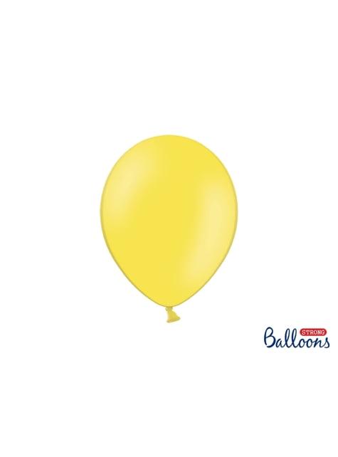 100 silných balónků ve žluté pastelově matné barvě, 27cm