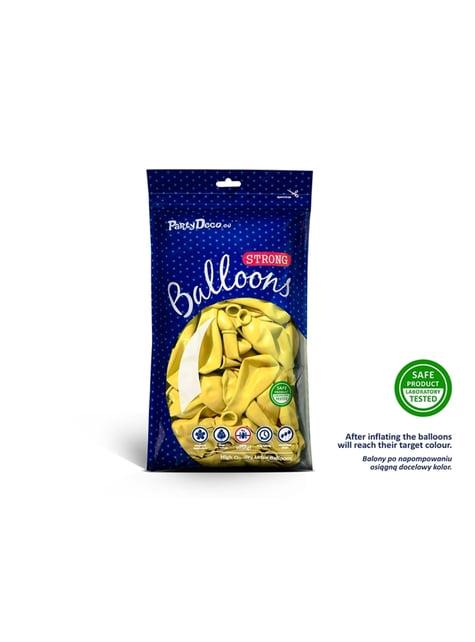 100 sterke ballonnen in metallic pastel geel, 27 cm