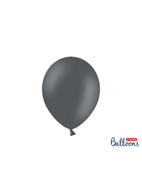 10 globos extra resistentes gris pastel metalizado (27 cm)