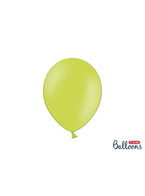 100 ballons extra résistants 27 cm vert citron pastel