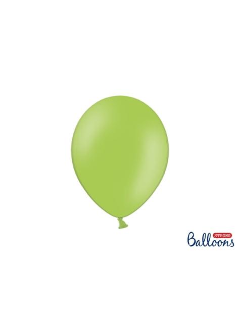 100 globos extra resistentes verde brillante pastel (27 cm)