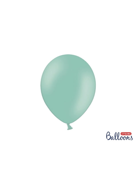 100 globos extra resistentes verde menta pastel (27 cm)