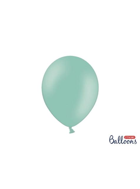 10 Strong Balloons in Metallic Mint Green, 27 cm