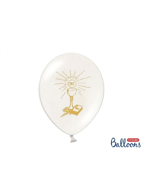 50 First Communion Latex Balloons in White (27 cm)