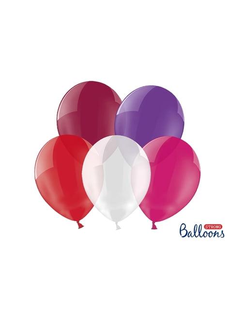 100 extra silných balonků v různých křišťálových stylech (30 cm)