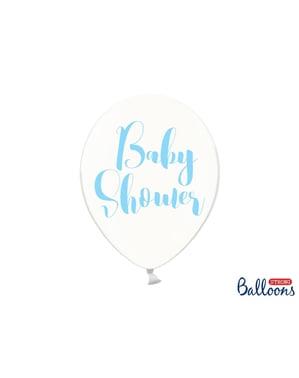 """Şeffaf mavi (30 cm) 50 """"BEBEK DUŞU"""" lateks balonlar"""